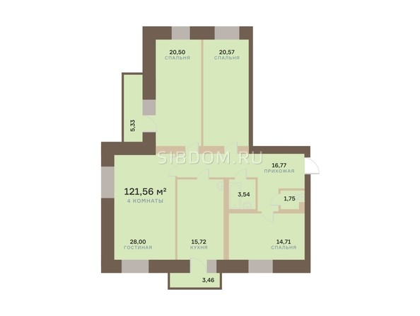 Планировка 4-комн 121,56, 122,67 м²