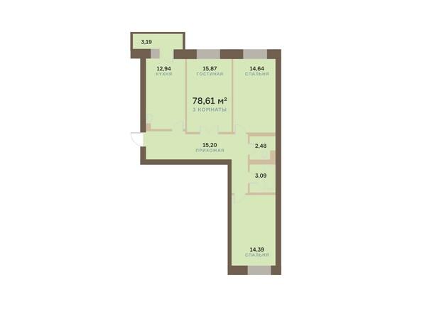 Планировки Жилой комплекс АЛЕКСАНДРОВСКИЙ, дом 1 - 3-комнатная 78,61 кв.м