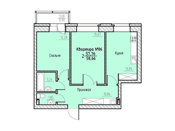 Планировка 2-комн 58,66 м²