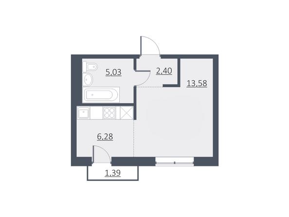 Планировки Жилой комплекс ДУНАЕВСКИЙ, дом 3 - Планировка однокомнатной квартиры 27,41 кв.м