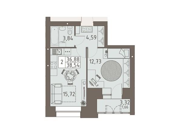 Планировки ВАВИЛОВСКИЙ ДВОРИК - 2-комнатная 38,54 кв.м