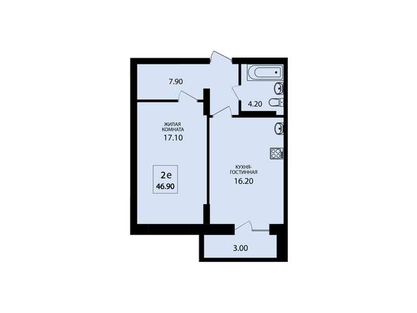 Планировки Жилой комплекс VIVANOVA (Виванова) - Планировка двухкомнатной квартиры 46,9 кв.м