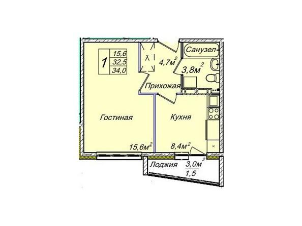Планировки Жилой комплекс ВЕНЕЦИЯ-2, дом 6 - Планировка однокомнатной квартиры 34 кв.м