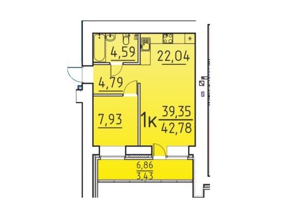 Планировка 1-комн 39,35, 42,78 м²
