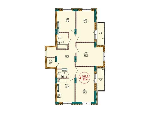 Планировки Жилой комплекс НОВЫЕ ЧЕРЁМУШКИ - Планировка четырёхкомнатной квартиры 101,2 кв.м