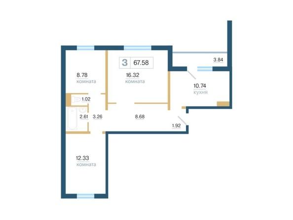 Планировка 3-комн 67,58 м²