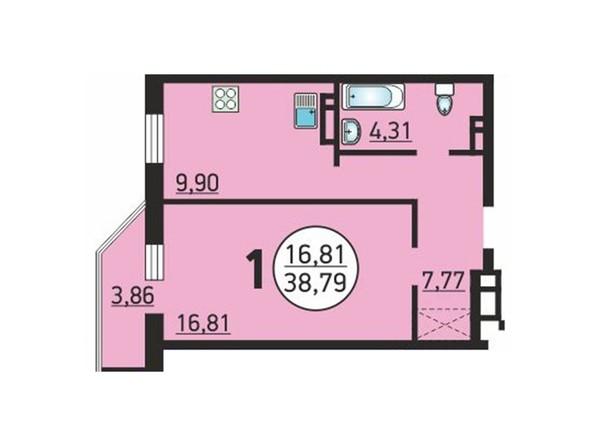 Планировка 1-комн 38,79 м²