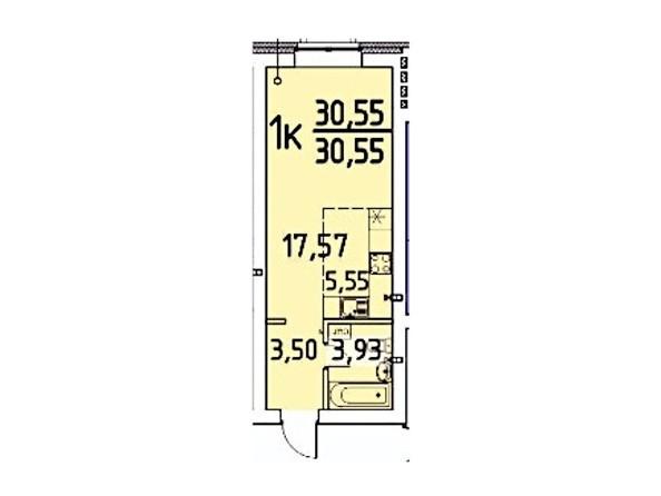 Планировка 1-комн 30,55 м²