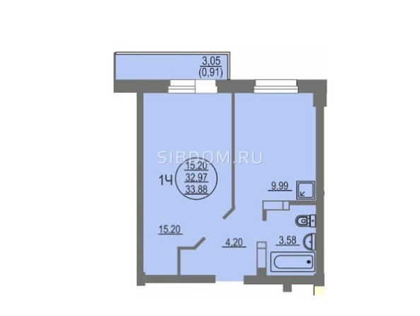 1-комнатная 33.88 кв.м