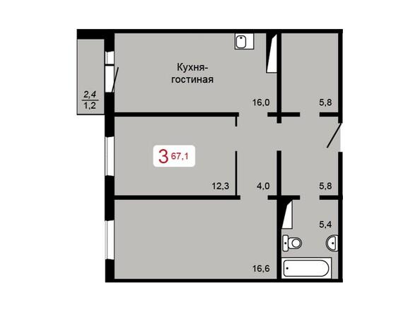 Планировка 3-комн 67,1 м²