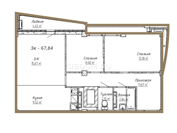 Планировки Жилой комплекс ДОМ НА СИБИРСКОЙ - Планировка трёхкомнатной квартиры 67,84 кв.м
