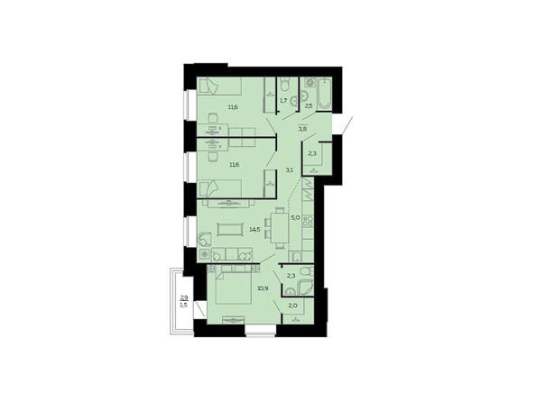 Планировки Жилой комплекс МАРС, дом 10 - Планировка четырёхкомнатной квартиры 72,8 кв.м