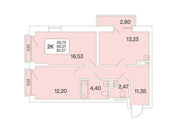 Планировка 2-комн 61,37 м²