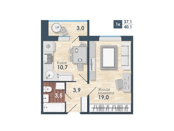 Планировка 1-комн 40,1 м²