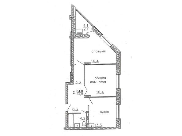 Планировки Жилой комплекс Караульная, 6 дом, 3 оч - Планировка двухкомнатной квартиры 64 кв.м.