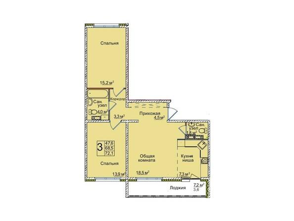 Планировки ВОСТОЧНЫЙ, 85/1а - Планировка трёхкомнатной квартиры 72,1 кв.м