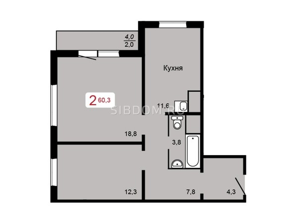 Планировка 2-комн 60,3 м²