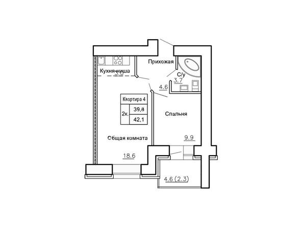 Планировки Жилой комплекс НОВАЯ ПРИСТАНЬ, 4 - Планировка двухкомнатной квартиры 42,1 кв.м