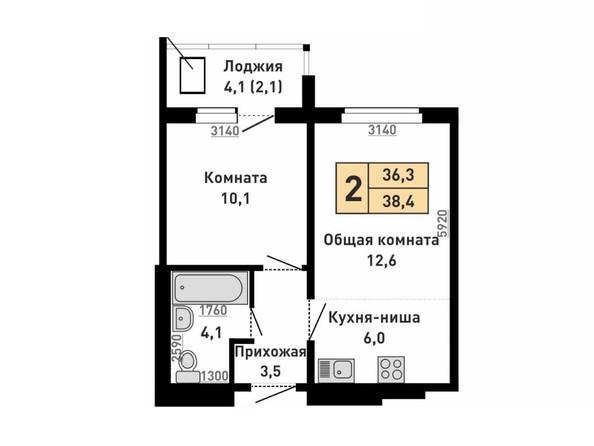 2-комнатная 38.4 кв.м