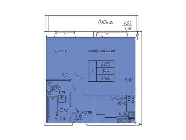 Планировки Жилой комплекс ЮНОСТЬ, дом 2 - Планировка двухкомнатной квартиры 37,66 кв.м