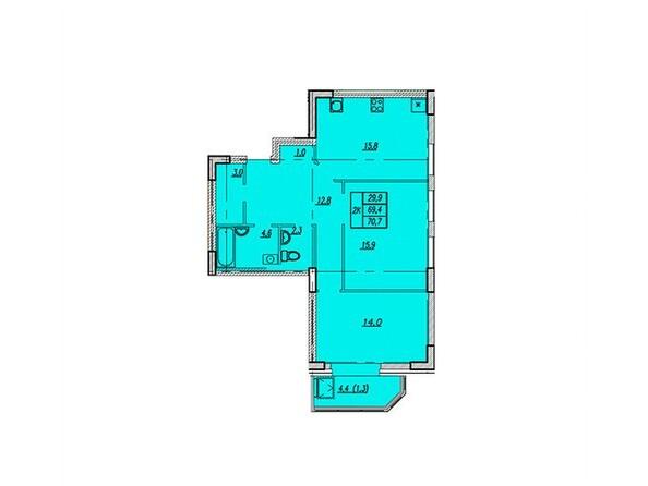 Планировки Жилой комплекс НОВАЯ ВЫСОТА, дом 1 - Планировка двухкомнатной квартиры 70,7 кв.м