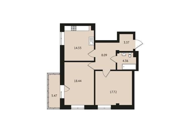 Планировки Жилой комплекс ВДОХНОВЕНИЕ - Планировка двухкомнатной квартиры 71,7 кв.м