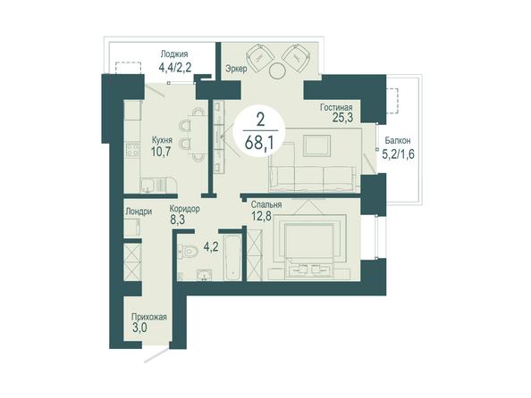 2-комнатная 68,1 кв.м