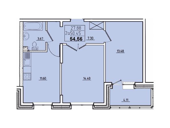 Планировки Жилой комплекс КОРИЦА, дом 3 - 2-комнатная 54,56 кв.м.