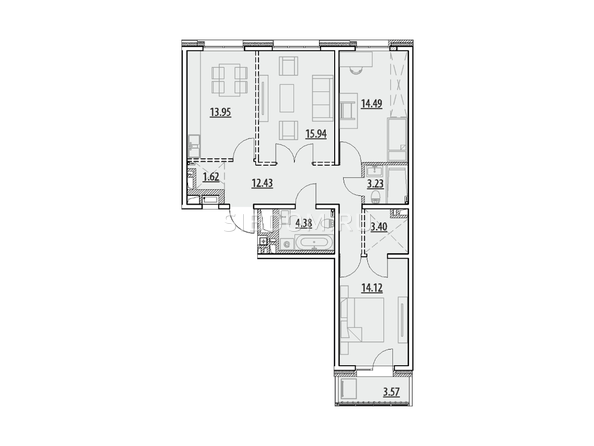 Планировка 3-комн 87,13, 87,79 м²