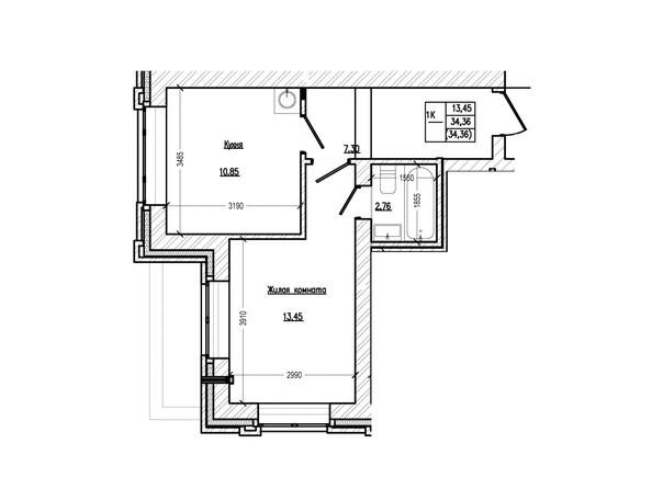 Планировка 1-комн 34,36 м²
