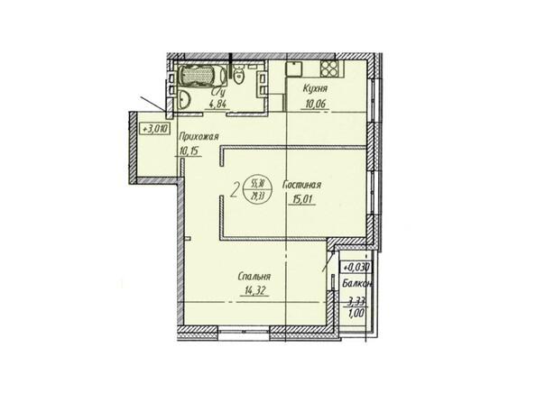 Планировка 2-комнатной квартиры 55,38 кв.м