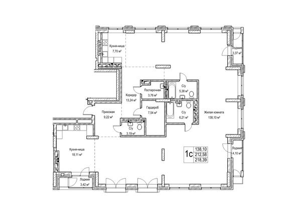 Планировки Жилой комплекс ЯДРИНЦЕВСКИЙ КВАРТАЛ - 1-комнатная студия 212,5 кв.м. Блок-секция 1