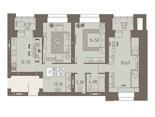 Планировки ВАВИЛОВСКИЙ ДВОРИК - 3-комнатная 83,16 кв.м