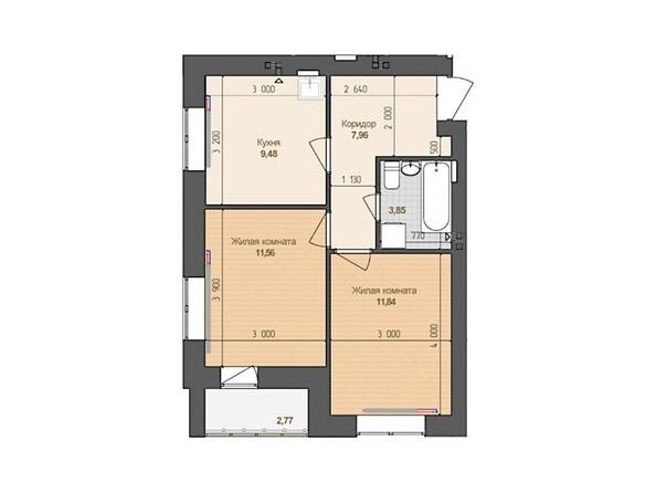 2-комнатная 44.69 кв.м