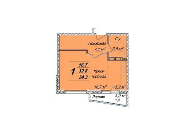 Планировки Жилой комплекс ЕВРОПЕЙСКИЕ ПРОВИНЦИИ, дом 23 - 1-комнатная 34,3 кв.м