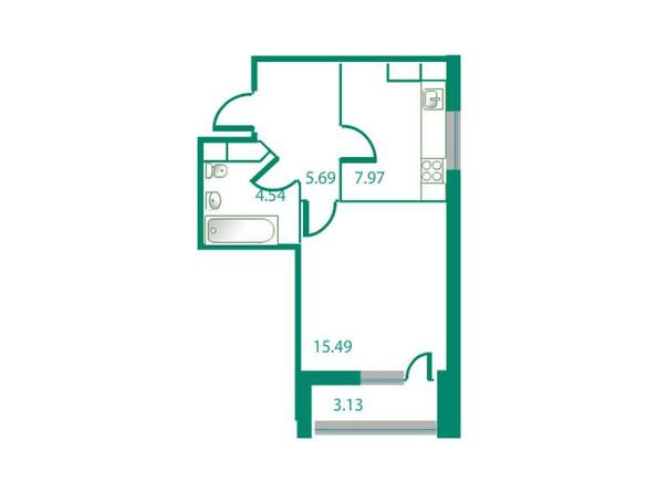 Планировки Жилой комплекс ИЗУМРУДНЫЙ БЕРЕГ, дом 1.2  - Планировка однокомнатной квартиры 35,16 кв.м