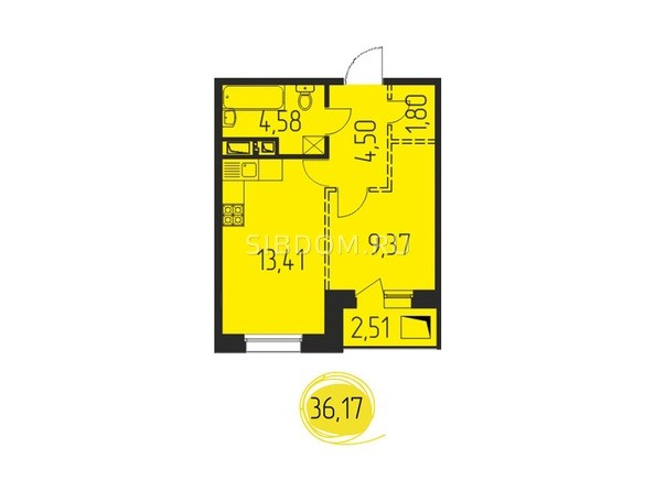 1-комнатная 36,17 кв.м