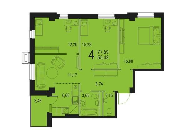 Планировка 4-комн 77,69 м²