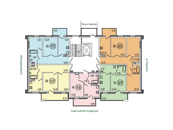 Планировки Жилой комплекс ЭВОЛЮЦИЯ, 2 оч, б/с 4-8,9,10 - Блок-секция 4-8. Планировка типового этажа