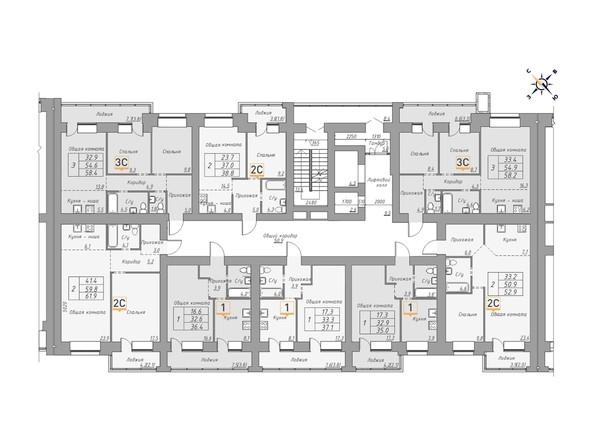 Планировки Жилой комплекс ДВЕ ЭПОХИ, корпус 1 - Планировка 2 этажа, 2 б/с