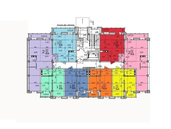 Планировки Жилой комплекс ИРКУТСКИЙ ДВОРИК-2, дом 2 (б/с 7,8,9) - Планировка 2 этажа