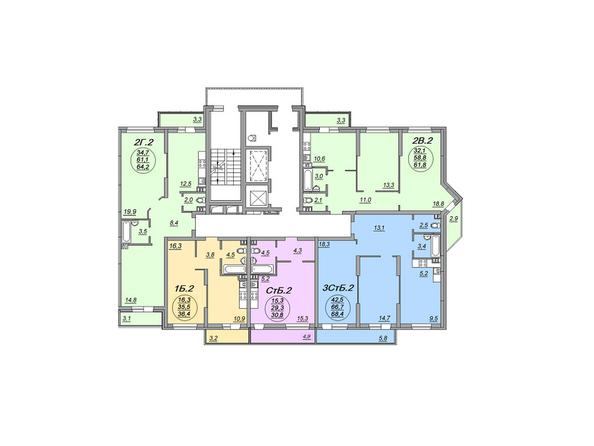 Блок-секция 1. Планировка 2-4 этажей