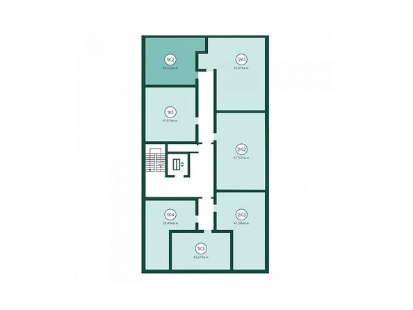 Блок-секция 1. Планировка 3-7 этажей