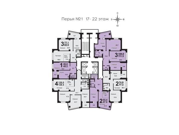 Планировки Жилой комплекс ПЕРЬЯ ж/к, дом 1 - План 17-22 этажей