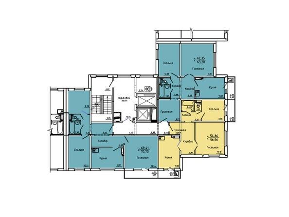 Планировки Жилой комплекс Нанжуль-Солнечный мкр, дом 5 - Подъезд 3. Планировка 15-16 этажей