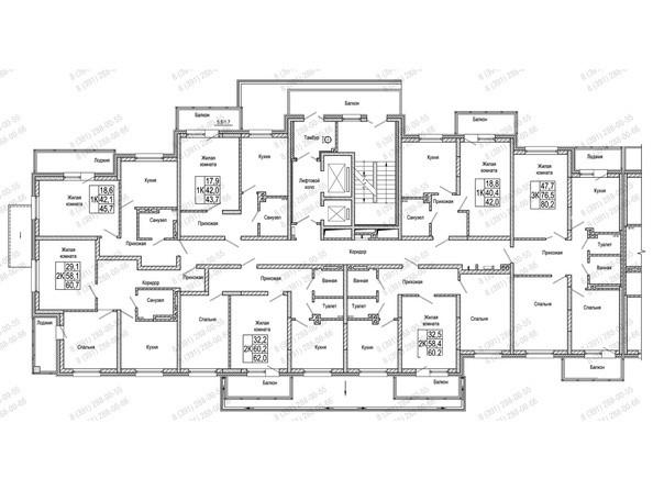 Планировки Жилой комплекс КОМСОМОЛЬСКИЙ  - Блок-секция 2. Планировка 2 этажа