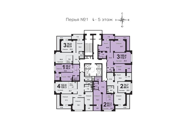 Планировки Жилой комплекс ПЕРЬЯ, дом 1 - План 4-5 этажей