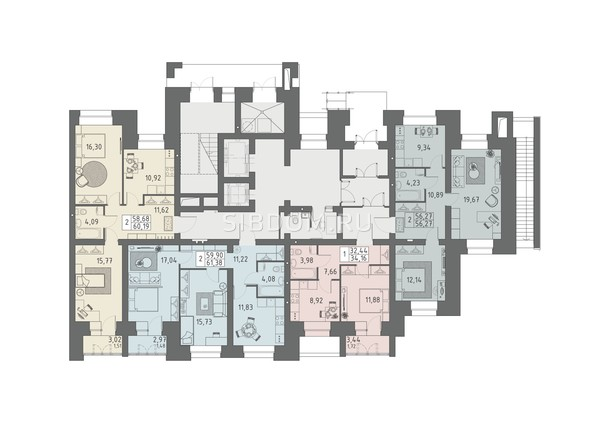 Планировки ВАВИЛОВСКИЙ ДВОРИК - Подъезд 1. Планировка 1 этажа