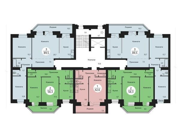Блок-секция 5. Планировка типового этажа