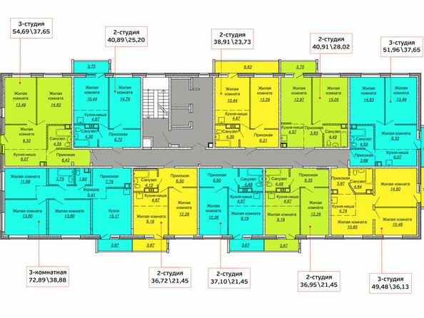 Планировки Жилой комплекс ВЕСЕННИЙ, Заречная 39, дом 1/4 - Планировка квартир типового этажа Заречная 39 1/4